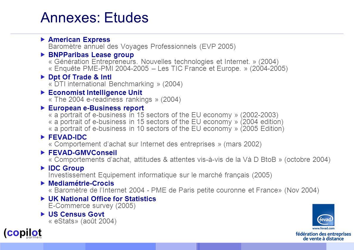 Annexes: Etudes American Express Baromètre annuel des Voyages Professionnels (EVP 2005) BNPParibas Lease group « Génération Entrepreneurs.