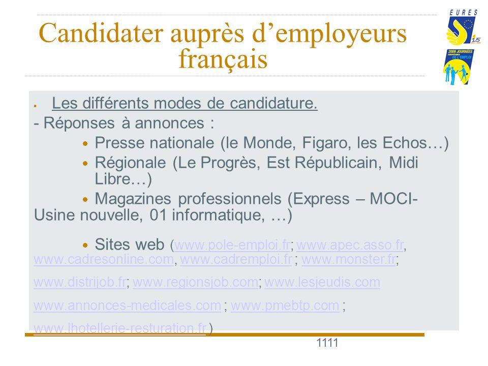 1111 Candidater auprès demployeurs français Les différents modes de candidature.