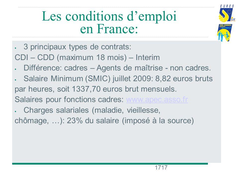 1717 Les conditions demploi en France: 3 principaux types de contrats: CDI – CDD (maximum 18 mois) – Interim Différence: cadres – Agents de maîtrise - non cadres.