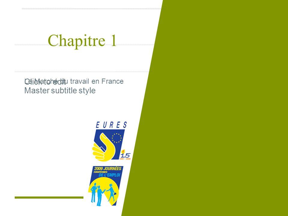 Click to edit Master subtitle style Chapitre 1 Le Marché du travail en France