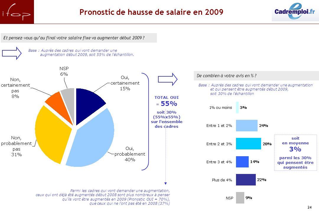 24.Pronostic de hausse de salaire en 2009 Et pensez-vous quau final votre salaire fixe va augmenter début 2009 .
