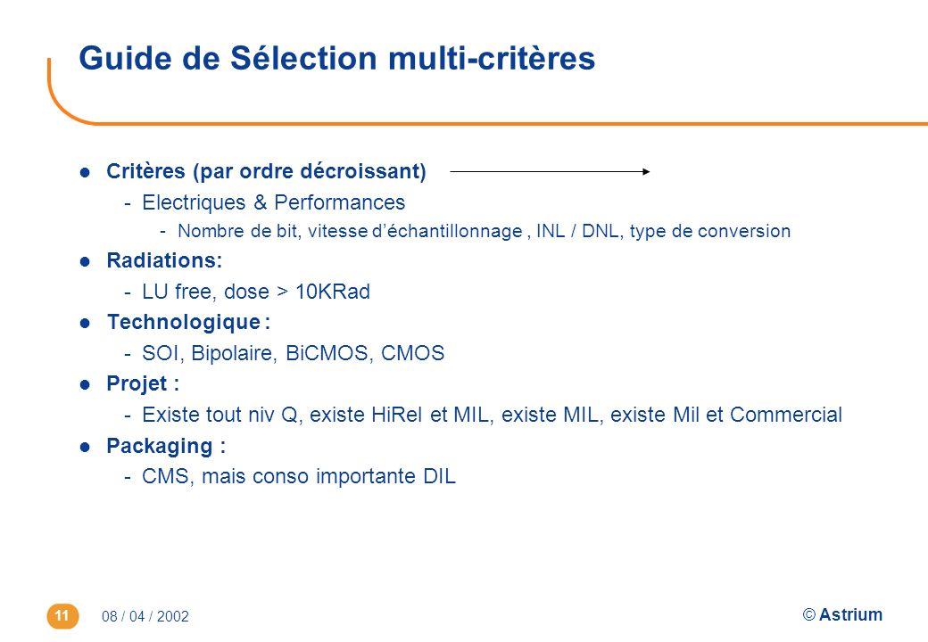 08 / 04 / 2002 © Astrium 11 Guide de Sélection multi-critères l Critères (par ordre décroissant) -Electriques & Performances -Nombre de bit, vitesse d