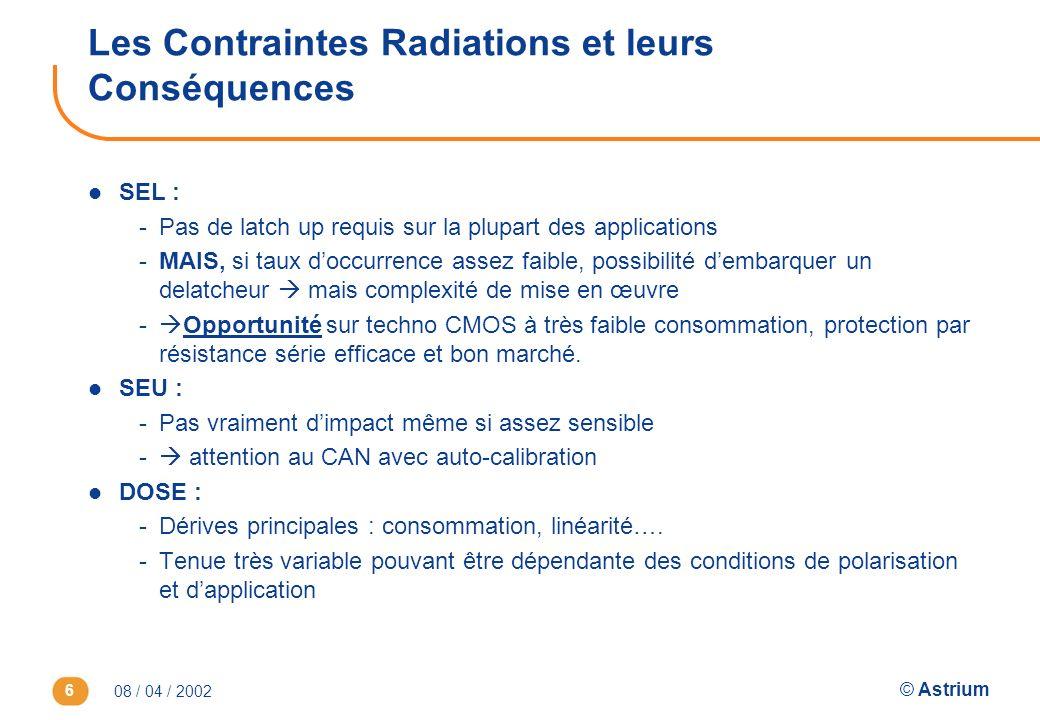 08 / 04 / 2002 © Astrium 6 Les Contraintes Radiations et leurs Conséquences l SEL : -Pas de latch up requis sur la plupart des applications -MAIS, si