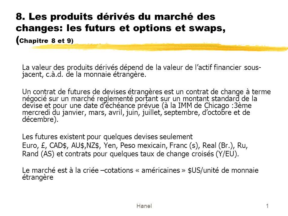Hanel1 8. Les produits dérivés du marché des changes: les futurs et options et swaps, ( Chapitre 8 et 9) La valeur des produits dérivés dépend de la v