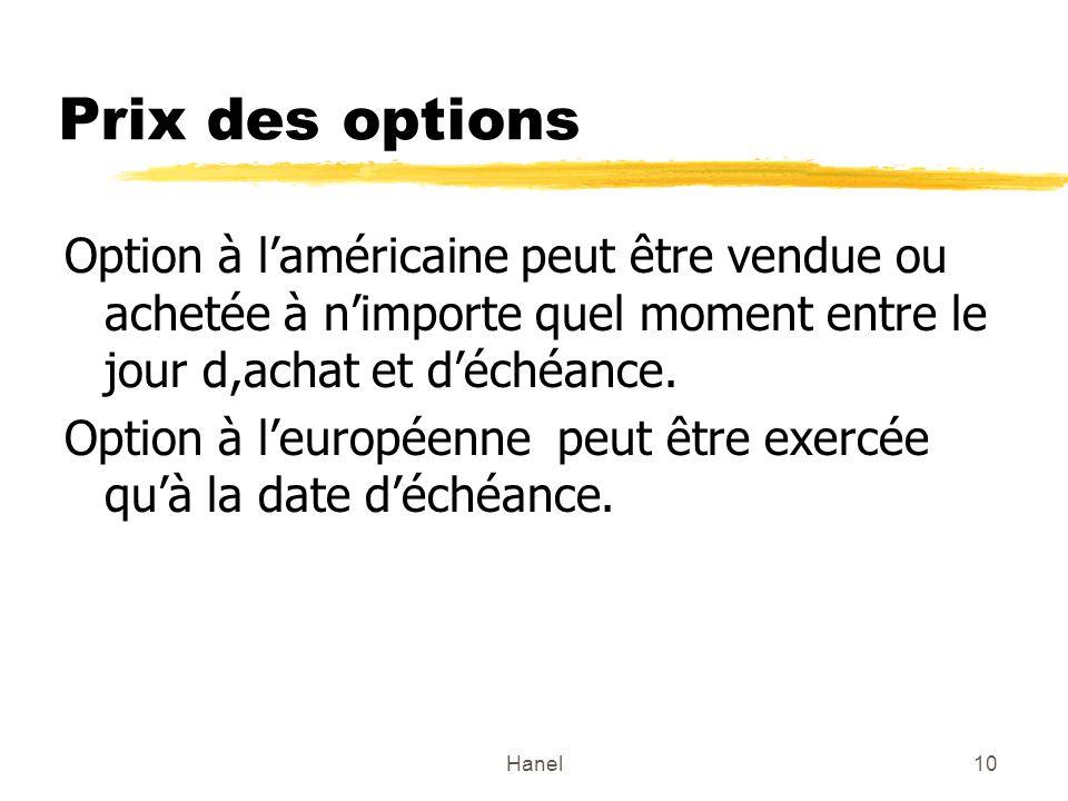 Hanel10 Prix des options Option à laméricaine peut être vendue ou achetée à nimporte quel moment entre le jour d,achat et déchéance. Option à leuropée