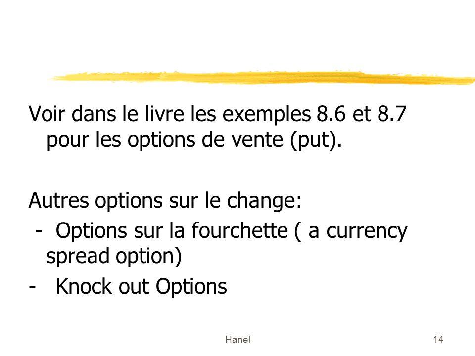 Hanel14 Voir dans le livre les exemples 8.6 et 8.7 pour les options de vente (put). Autres options sur le change: - Options sur la fourchette ( a curr