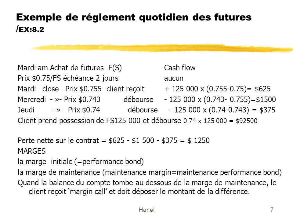 Hanel7 Exemple de réglement quotidien des futures / EX:8.2 Mardi am Achat de futures F(S)Cash flow Prix $0.75/FS échéance 2 joursaucun Mardi close Pri