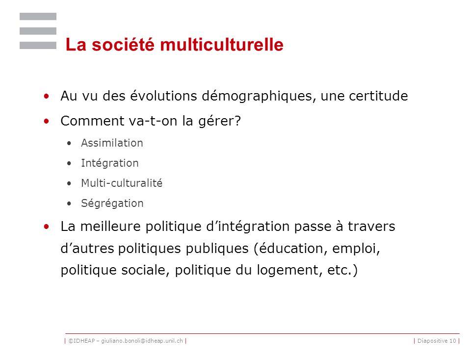 | ©IDHEAP – giuliano.bonoli@idheap.unil.ch || Diapositive 10 | La société multiculturelle Au vu des évolutions démographiques, une certitude Comment v