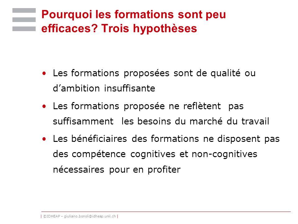 | ©IDHEAP – giuliano.bonoli@idheap.unil.ch | Pourquoi les formations sont peu efficaces? Trois hypothèses Les formations proposées sont de qualité ou
