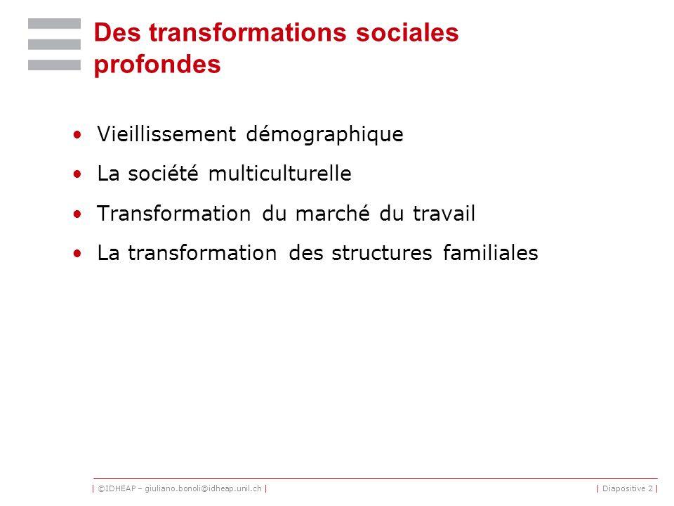 | ©IDHEAP – giuliano.bonoli@idheap.unil.ch || Diapositive 2 | Des transformations sociales profondes Vieillissement démographique La société multicult