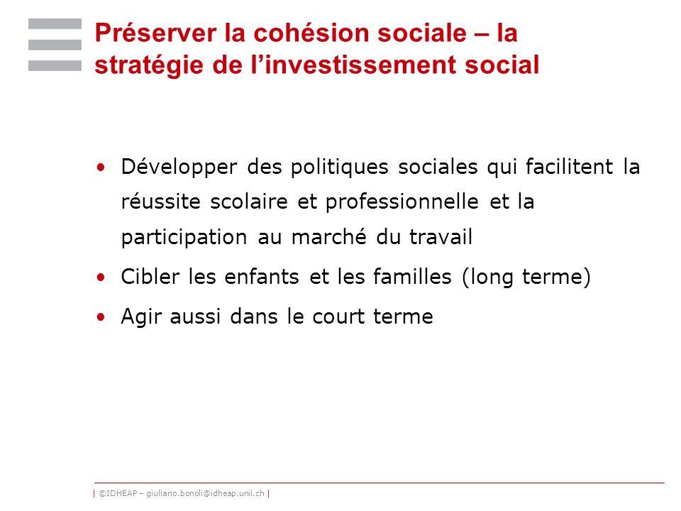 | ©IDHEAP – giuliano.bonoli@idheap.unil.ch | Préserver la cohésion sociale – la stratégie de linvestissement social Développer des politiques sociales