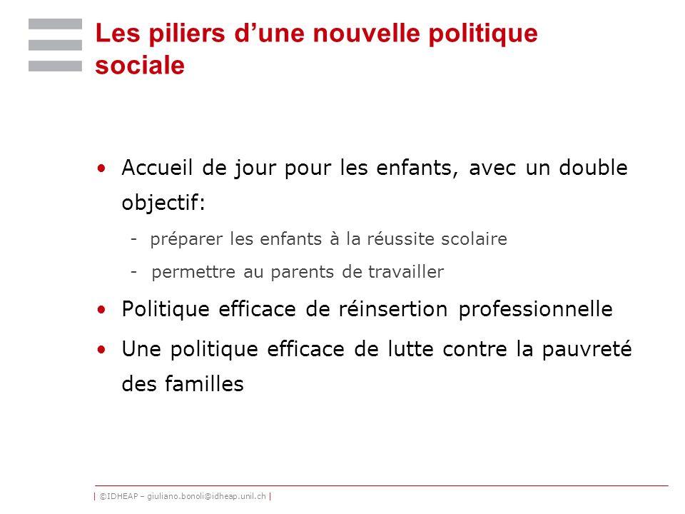 | ©IDHEAP – giuliano.bonoli@idheap.unil.ch | Les piliers dune nouvelle politique sociale Accueil de jour pour les enfants, avec un double objectif: -