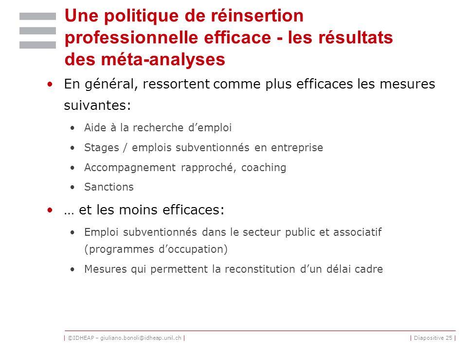 | ©IDHEAP – giuliano.bonoli@idheap.unil.ch || Diapositive 25 | Une politique de réinsertion professionnelle efficace - les résultats des méta-analyses