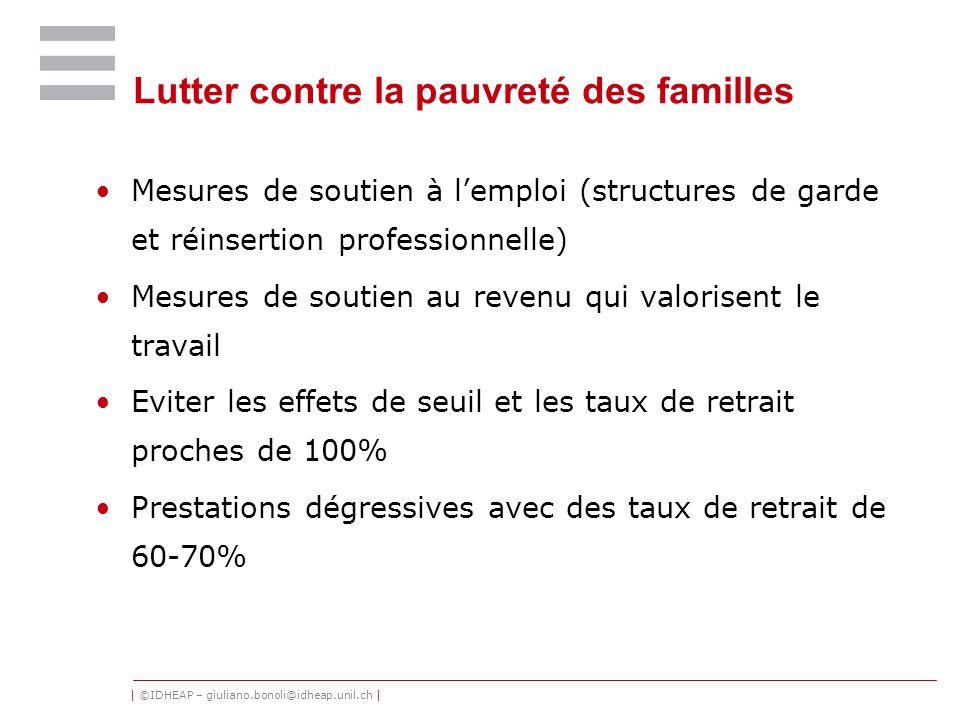 | ©IDHEAP – giuliano.bonoli@idheap.unil.ch | Lutter contre la pauvreté des familles Mesures de soutien à lemploi (structures de garde et réinsertion p