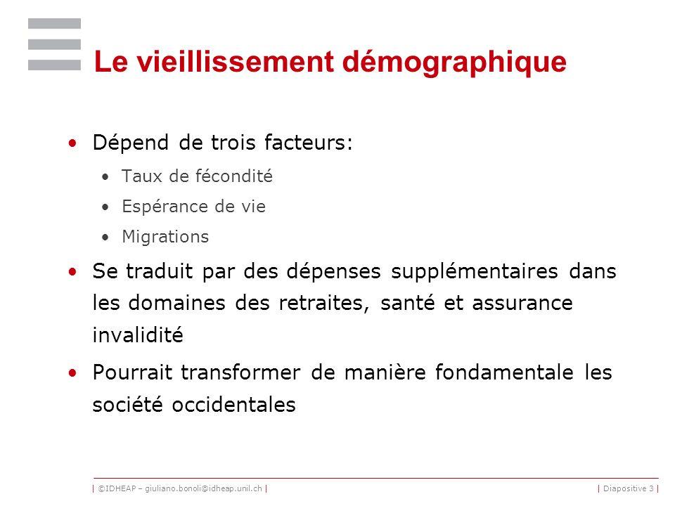 | ©IDHEAP – giuliano.bonoli@idheap.unil.ch || Diapositive 3 | Le vieillissement démographique Dépend de trois facteurs: Taux de fécondité Espérance de