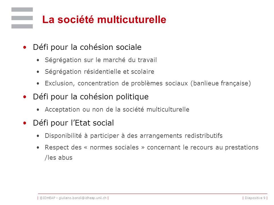 | ©IDHEAP – giuliano.bonoli@idheap.unil.ch || Diapositive 9 | La société multicuturelle Défi pour la cohésion sociale Ségrégation sur le marché du tra