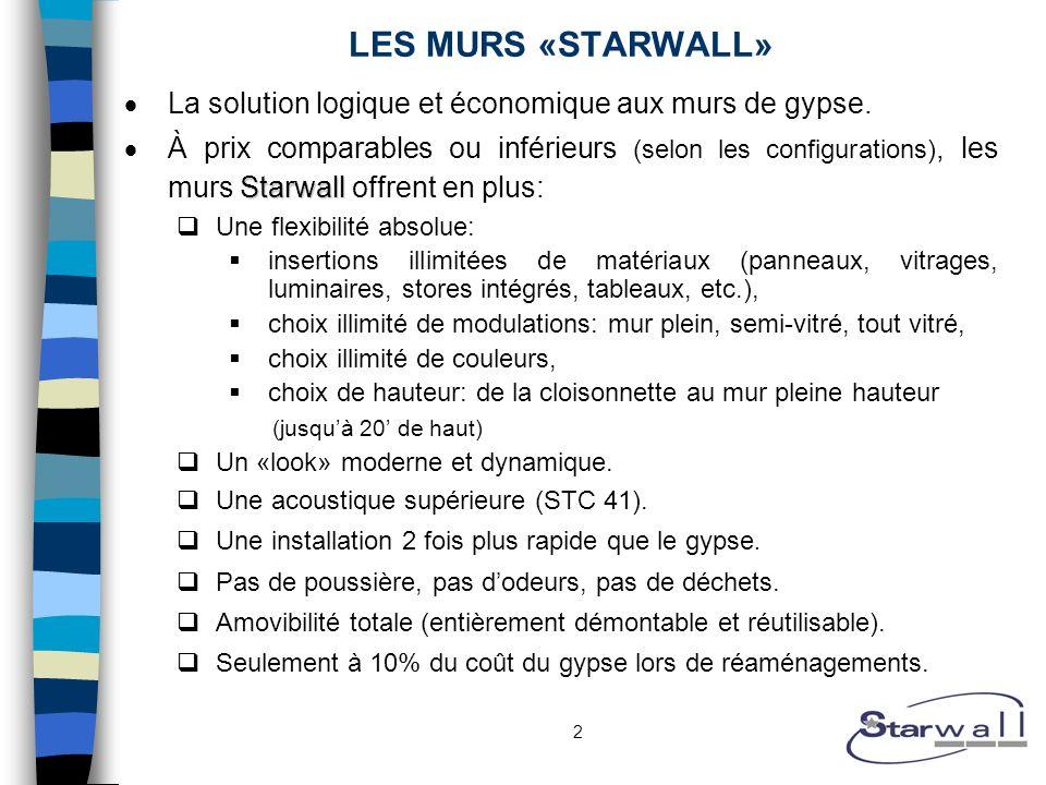 2 LES MURS «STARWALL» La solution logique et économique aux murs de gypse. Starwall À prix comparables ou inférieurs (selon les configurations), les m