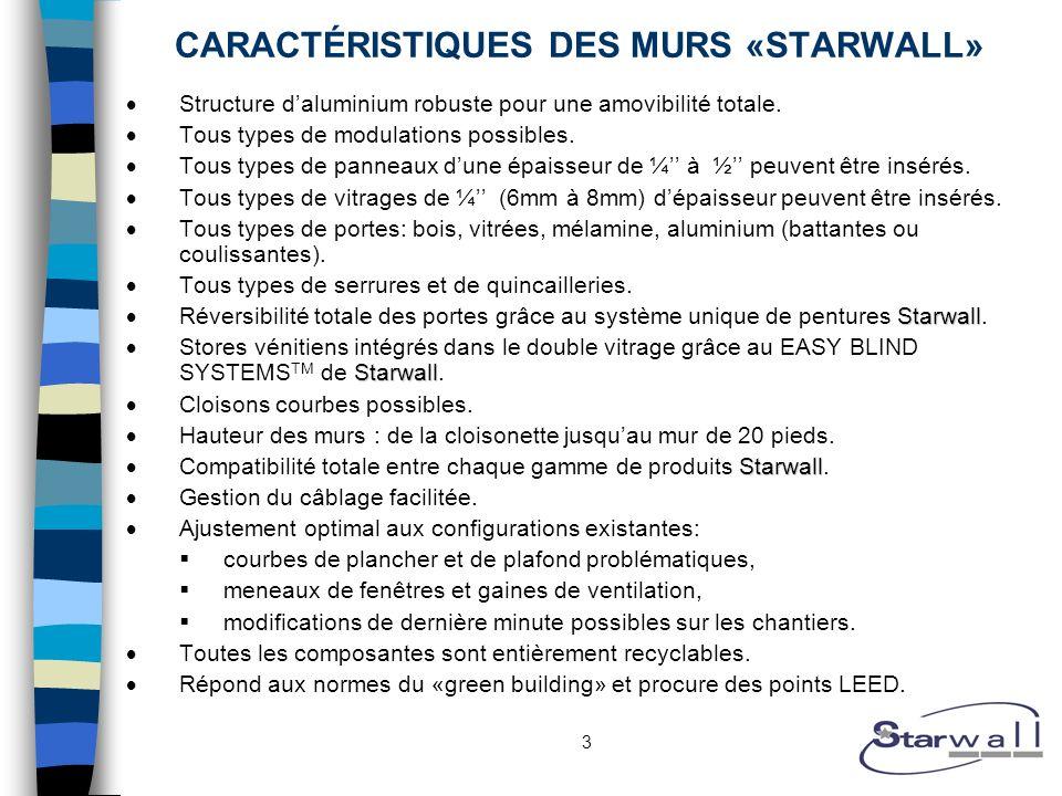 3 CARACTÉRISTIQUES DES MURS «STARWALL» Structure daluminium robuste pour une amovibilité totale. Tous types de modulations possibles. Tous types de pa