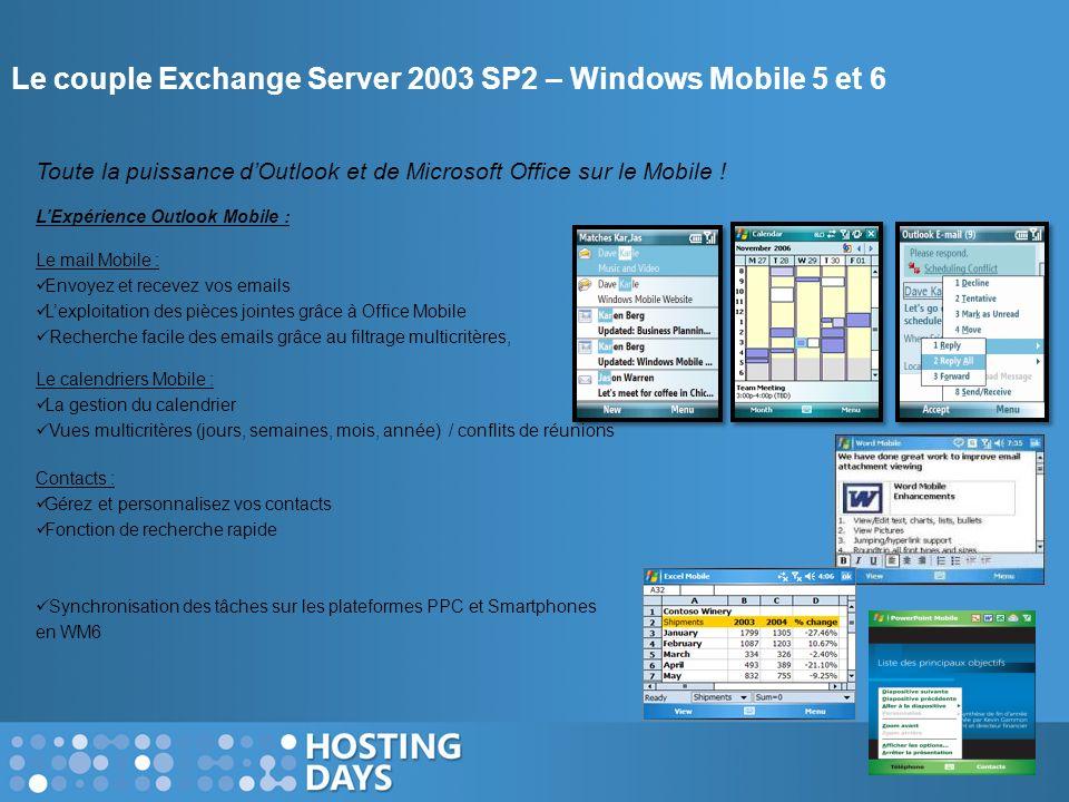 Le couple Exchange Server 2003 SP2 – Windows Mobile 5 et 6 Toute la puissance dOutlook et de Microsoft Office sur le Mobile ! LExpérience Outlook Mobi
