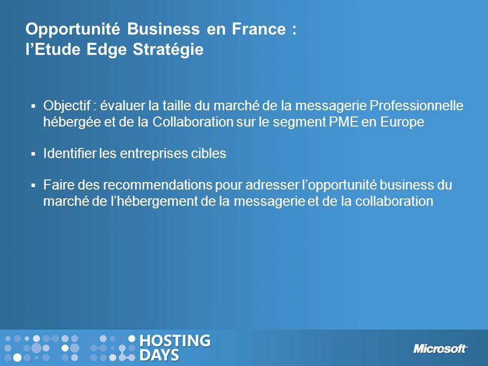 Opportunité Business en France : lEtude Edge Stratégie Objectif : évaluer la taille du marché de la messagerie Professionnelle hébergée et de la Colla