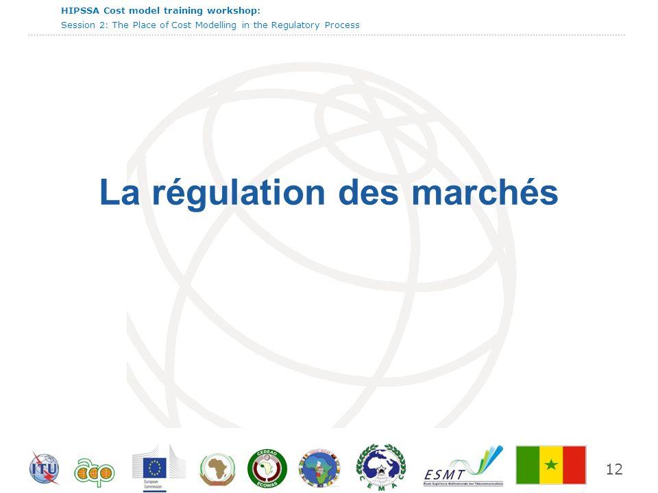 International Telecommunication Union HIPSSA Cost model training workshop: Session 2: The Place of Cost Modelling in the Regulatory Process 12 La régu