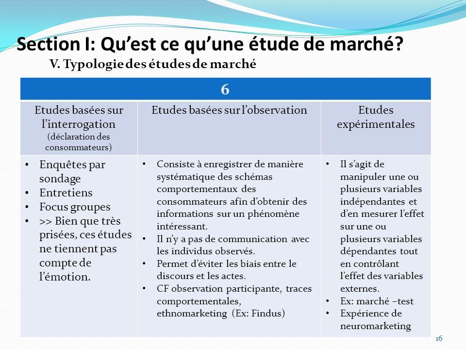 Section I: Quest ce quune étude de marché? 16 V. Typologie des études de marché 6 Etudes basées sur linterrogation (déclaration des consommateurs) Etu
