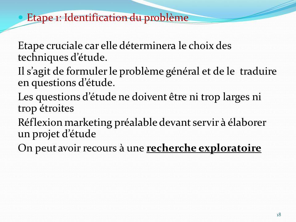 Etape 1: Identification du problème Etape cruciale car elle déterminera le choix des techniques détude. Il sagit de formuler le problème général et de