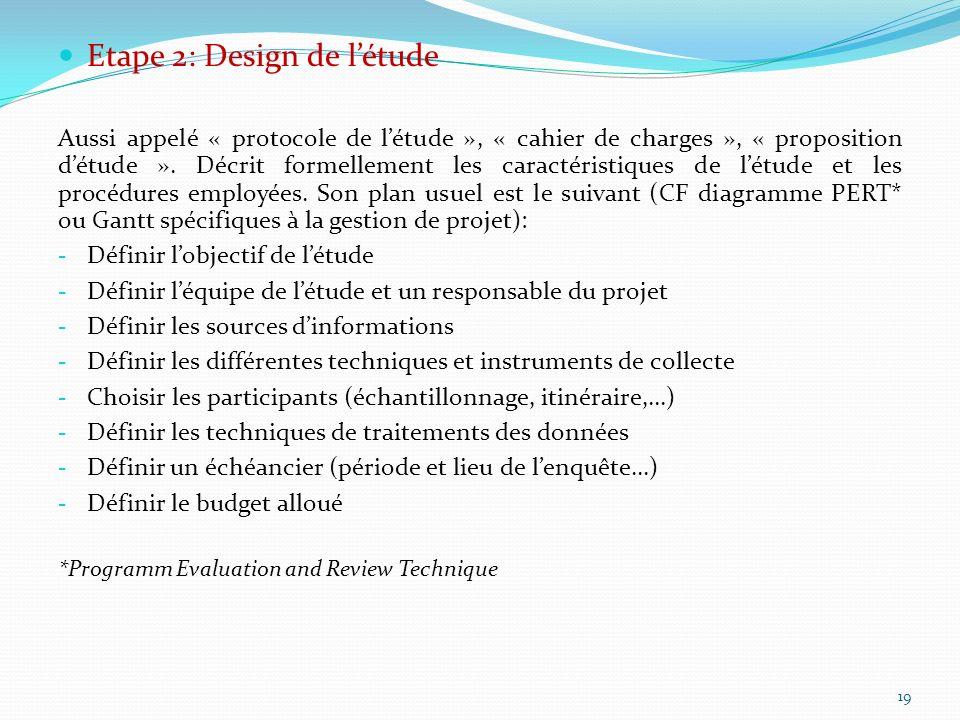 Etape 2: Design de létude Aussi appelé « protocole de létude », « cahier de charges », « proposition détude ». Décrit formellement les caractéristique