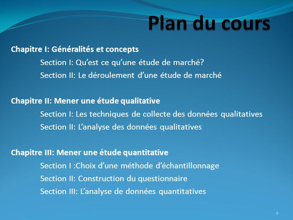 2 Chapitre I: Généralités et concepts Section I: Quest ce quune étude de marché? Section II: Le déroulement dune étude de marché Chapitre II: Mener un