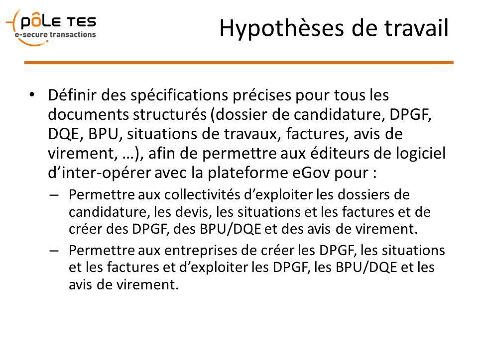 Hypothèses de travail Définir des spécifications précises pour tous les documents structurés (dossier de candidature, DPGF, DQE, BPU, situations de tr