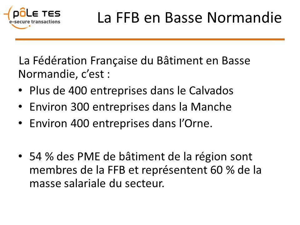 La FFB en Basse Normandie La Fédération Française du Bâtiment en Basse Normandie, cest : Plus de 400 entreprises dans le Calvados Environ 300 entrepri