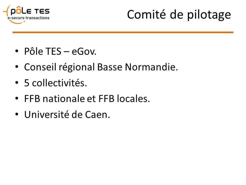 Comité de pilotage Pôle TES – eGov. Conseil régional Basse Normandie. 5 collectivités. FFB nationale et FFB locales. Université de Caen.