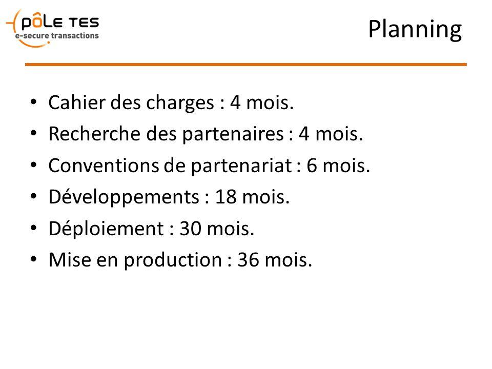 Planning Cahier des charges : 4 mois. Recherche des partenaires : 4 mois. Conventions de partenariat : 6 mois. Développements : 18 mois. Déploiement :