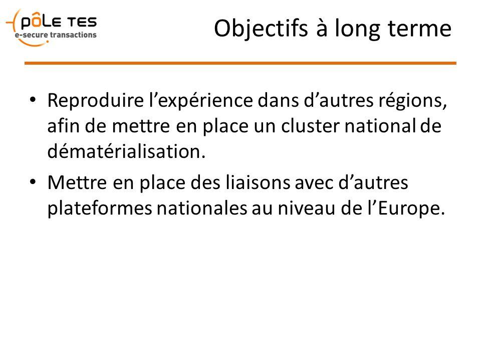 Objectifs à long terme Reproduire lexpérience dans dautres régions, afin de mettre en place un cluster national de dématérialisation. Mettre en place
