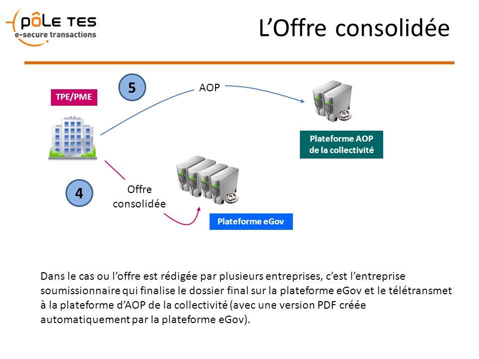 LOffre consolidée Plateforme eGov TPE/PME Dans le cas ou loffre est rédigée par plusieurs entreprises, cest lentreprise soumissionnaire qui finalise l