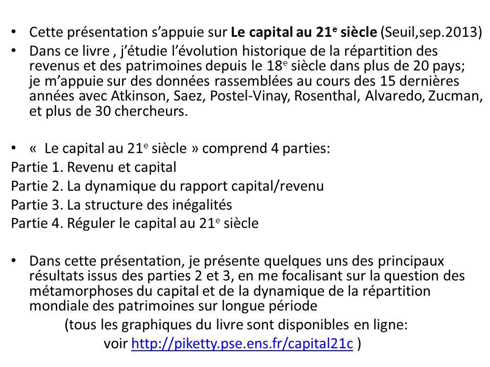 Cette présentation sappuie sur Le capital au 21 e siècle (Seuil,sep.2013) Dans ce livre, jétudie lévolution historique de la répartition des revenus e