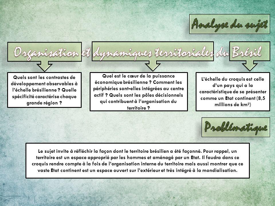 Quels sont les contrastes de développement observables à léchelle brésilienne ? Quelle spécificité caractérise chaque grande région ? Quel est le cœur