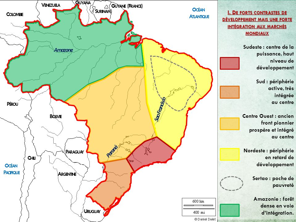 G UYANE (F RANCE ) S URINAM ) G UYANA V ENEZUELA C OLOMBIE P ÉROU B OLIVIE P ARAGUAY A RGENTINE C HILI O CÉAN A TLANTIQUE O CÉAN P ACIFIQUE Paraná Sao Francisco Amazone II.