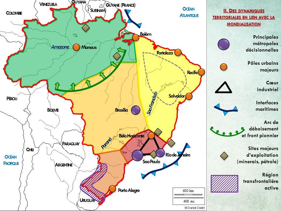 G UYANE (F RANCE ) S URINAM ) G UYANA V ENEZUELA C OLOMBIE P ÉROU B OLIVIE P ARAGUAY A RGENTINE C HILI O CÉAN A TLANTIQUE O CÉAN P ACIFIQUE Paraná Sao