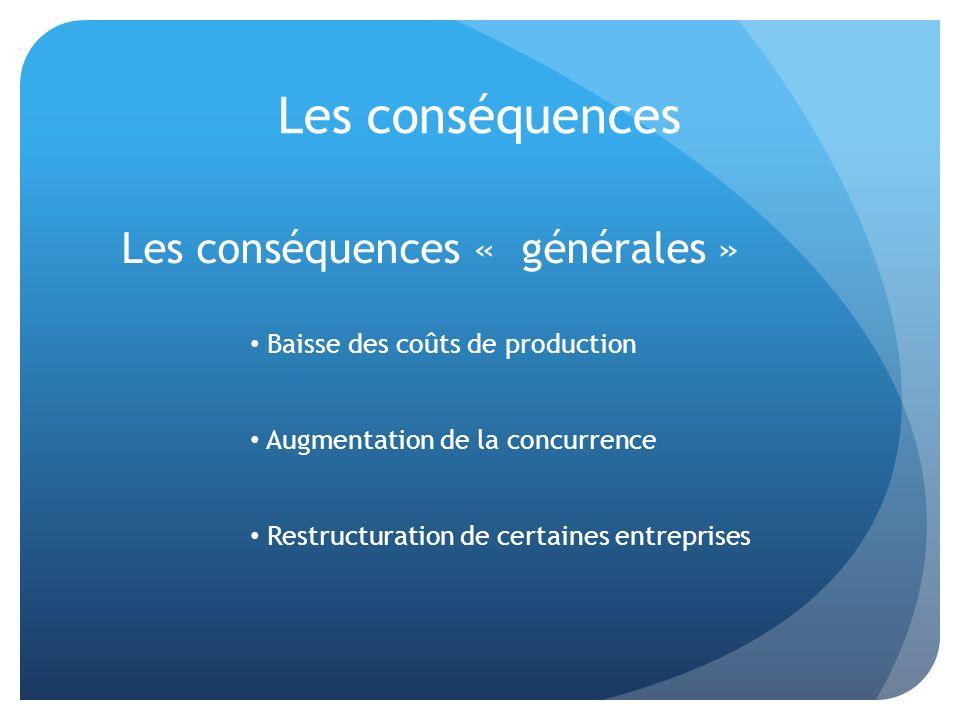 Les conséquences Baisse des coûts de production Augmentation de la concurrence Restructuration de certaines entreprises Les conséquences « générales »