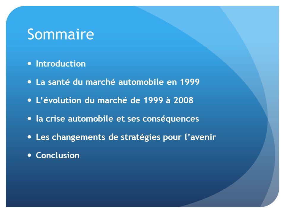 Sommaire Introduction La santé du marché automobile en 1999 Lévolution du marché de 1999 à 2008 la crise automobile et ses conséquences Les changement
