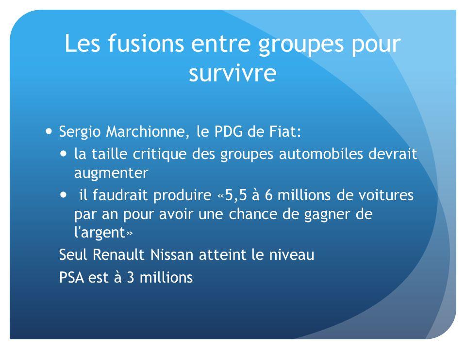Sergio Marchionne, le PDG de Fiat: la taille critique des groupes automobiles devrait augmenter il faudrait produire «5,5 à 6 millions de voitures par
