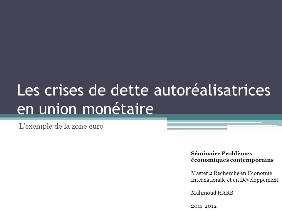 Les crises de dette autoréalisatrices en union monétaire Lexemple de la zone euro Séminaire Problèmes économiques contemporains Master 2 Recherche en