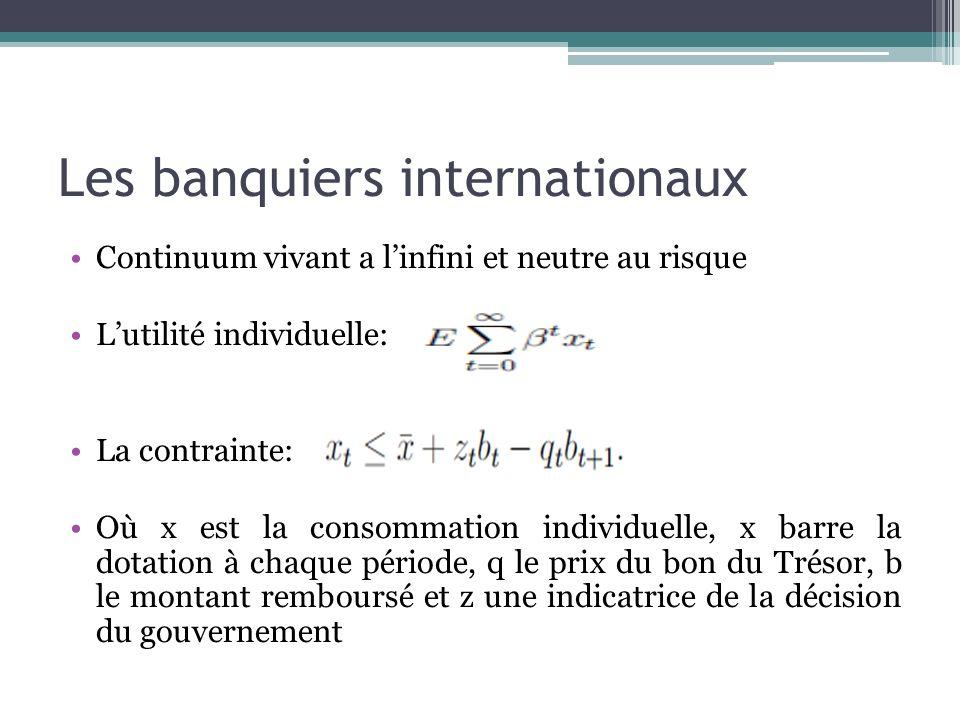 Les banquiers internationaux Continuum vivant a linfini et neutre au risque Lutilité individuelle: La contrainte: Où x est la consommation individuell