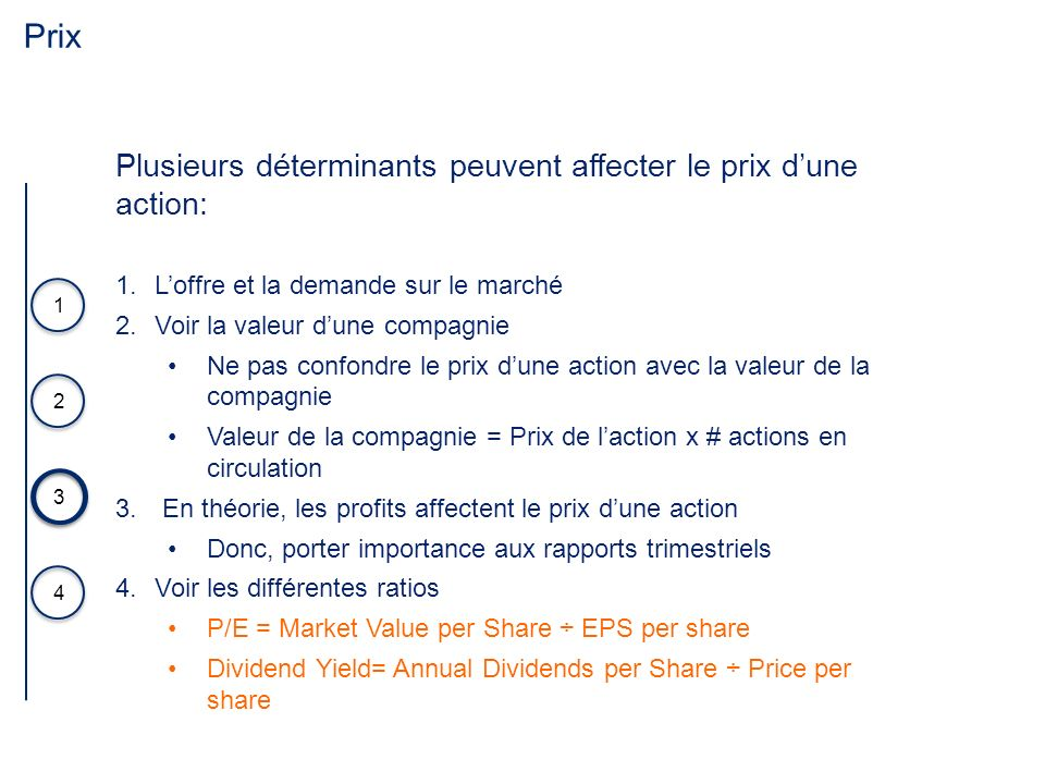 Prix 3 4 1 2 Plusieurs déterminants peuvent affecter le prix dune action: 1.Loffre et la demande sur le marché 2.Voir la valeur dune compagnie Ne pas