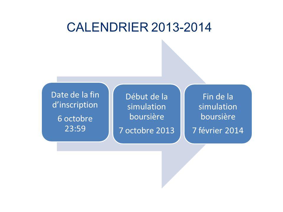 CALENDRIER 2013-2014 Date de la fin dinscription 6 octobre 23:59 Début de la simulation boursière 7 octobre 2013 Fin de la simulation boursière 7 févr