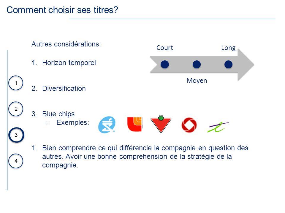 3 4 1 2 1.Horizon temporel 2.Diversification 3.Blue chips Exemples: 1.Bien comprendre ce qui différencie la compagnie en question des autres. Avoir un