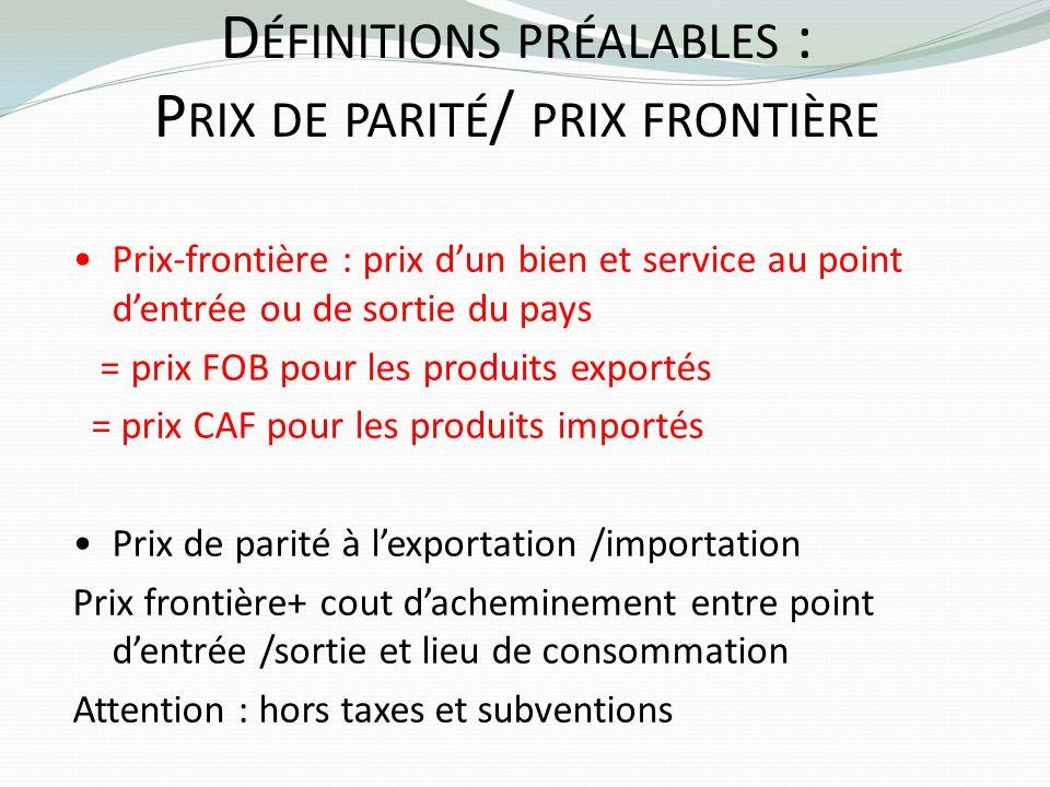 D ÉFINITIONS PRÉALABLES : P RIX DE PARITÉ / PRIX FRONTIÈRE Prix-frontière : prix dun bien et service au point dentrée ou de sortie du pays = prix FOB