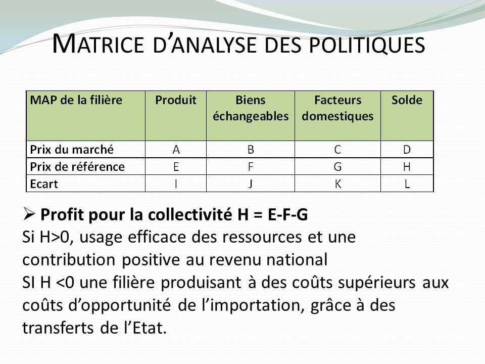 M ATRICE D ANALYSE DES POLITIQUES Profit pour la collectivité H = E-F-G Si H>0, usage efficace des ressources et une contribution positive au revenu n