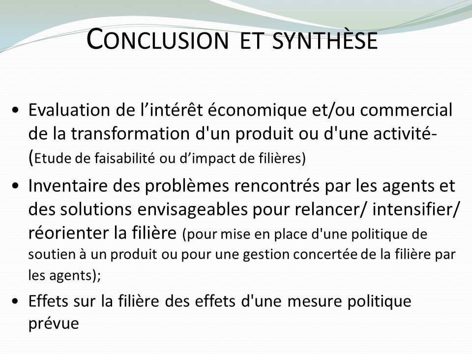 C ONCLUSION ET SYNTHÈSE Evaluation de lintérêt économique et/ou commercial de la transformation d'un produit ou d'une activité- ( Etude de faisabilité